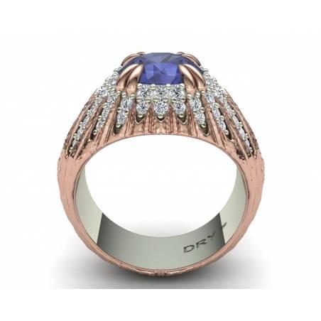 Two-tone Gold Tanzanite and Diamonds Ring