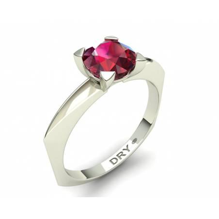 Anillo de compromiso con un  rubí en oro blanco de 18k