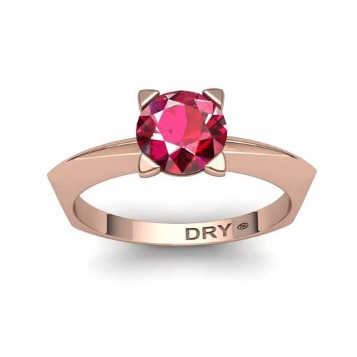 Anillo de compromiso con un  rubí en oro rosa de 18k