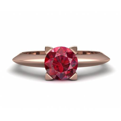 Anillo de pedida con un  rubí en oro rosa de 18k