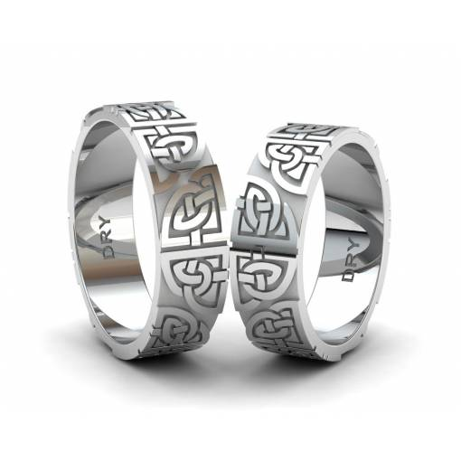 Silver matching Celtic wedding bands