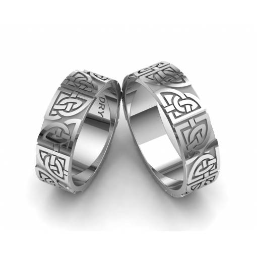 Silver matching Celtic knots wedding rings