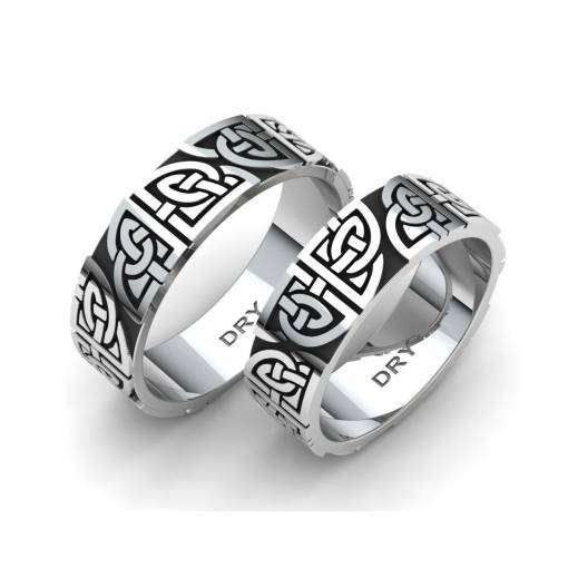 Oxidized silver matching Celtic rings