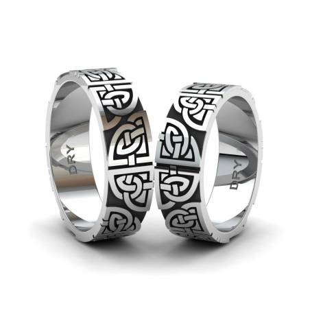 Oxidized silver matching Celtic wedding bands