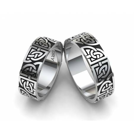 Oxidized silver matching Celtic knots wedding rings