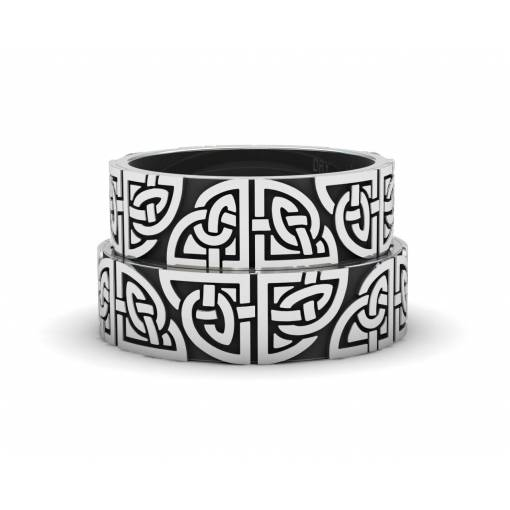Oxidized silver matching Celtic wedding rings