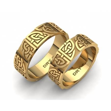 Alianzas celtas con los nudos compartidos  en oro amarillo 18k con un ancho de 6mm
