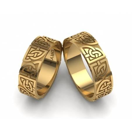 Alianzas de boda  celtas con los nudos compartidos  en oro amarillo 18k con un ancho de 6mm