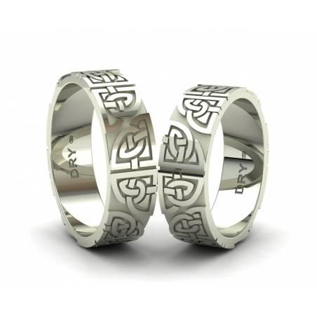 Anillos de boda  celtas con los nudos compartidos  en oro blanco 18k con un ancho de 6mm