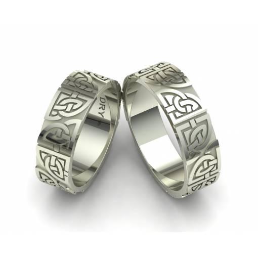 18k White Gold Matching Celtic Rings