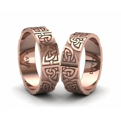 Alianzas celtas con los nudos compartidos  en oro rosa 18k con un ancho de 6mm