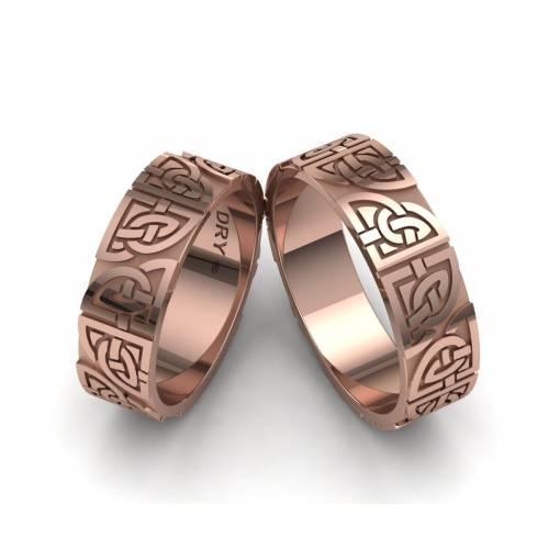 Alianzas de boda de estilo celta con los nudos compartidos  en oro rosa 18k con un ancho de 6mm
