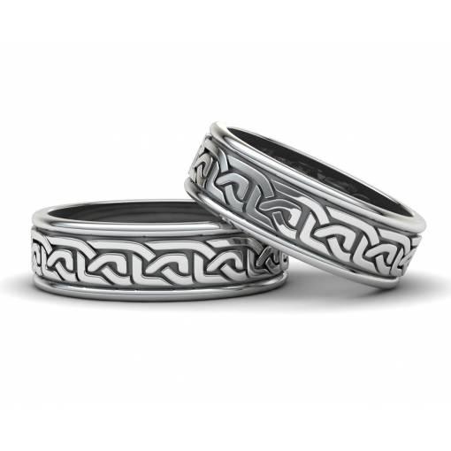 Anillos de boda de estilo celta en plata