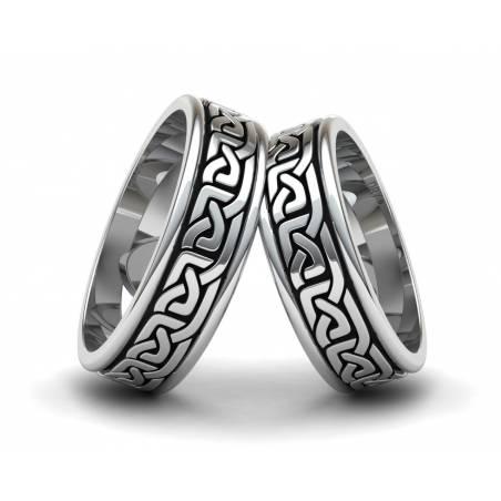 Alianzas de estilo celta en plata envejecida