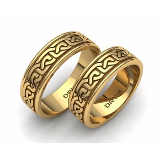 Alianzas estilo celta en oro amarillo con un ancho de 6mm