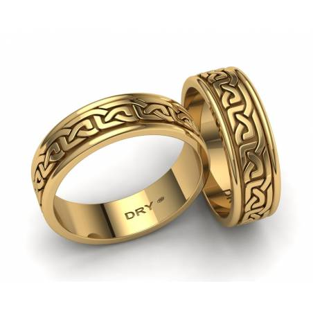 18k Yellow gold Celtic  wedding bands