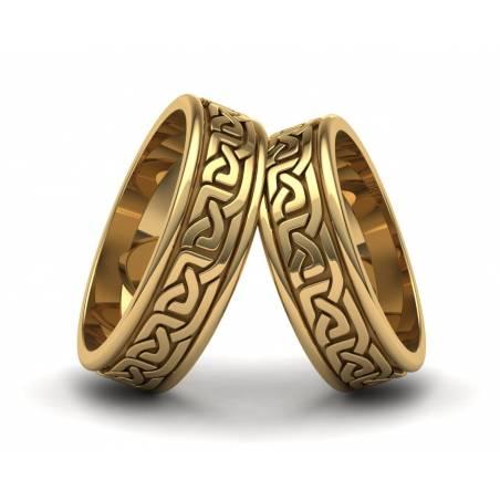 Alianzas celtas en oro amarillo con un ancho de 6mm