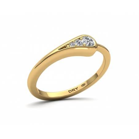 Anillo Minimalista con Diamantes Oro Amarillo