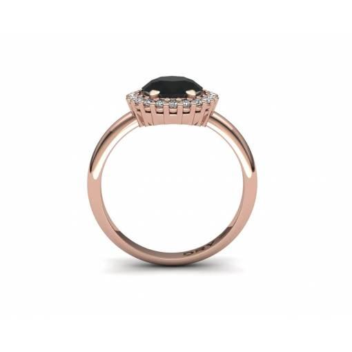 Anillo con diamante negro en oro rosa