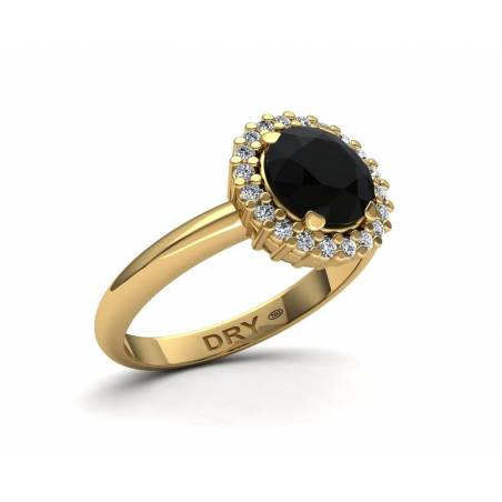 Anillo con diamante negro en oro amarillo