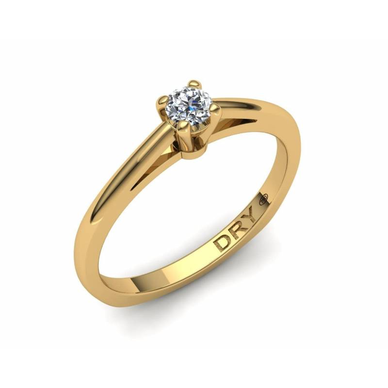 Anillo con Diamante de 0.10 Quilates en Oro Amarillo