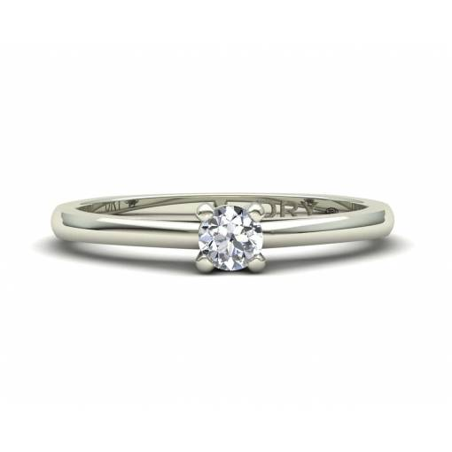 Anillo con Diamante de 0.10 Quilates en Oro Blanco