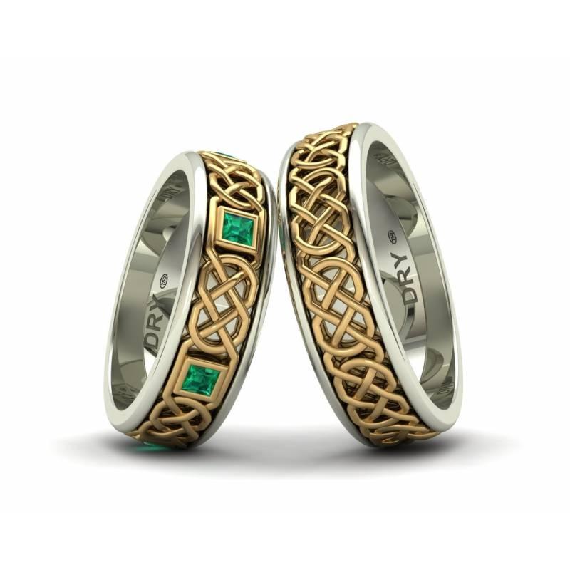 Alianzas celtas con esmeraldas oro blanco y amarillo