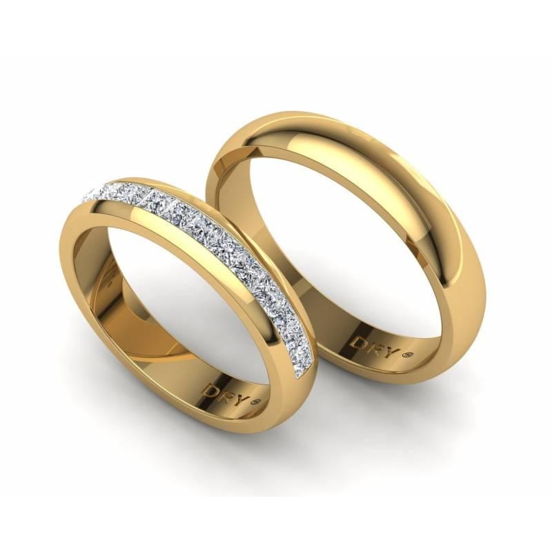 Media Alianza Diamantes Princesa en Oro Amarillo