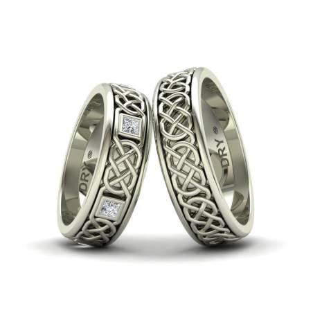 Anillos Celtas con Diamantes en Oro Blanco