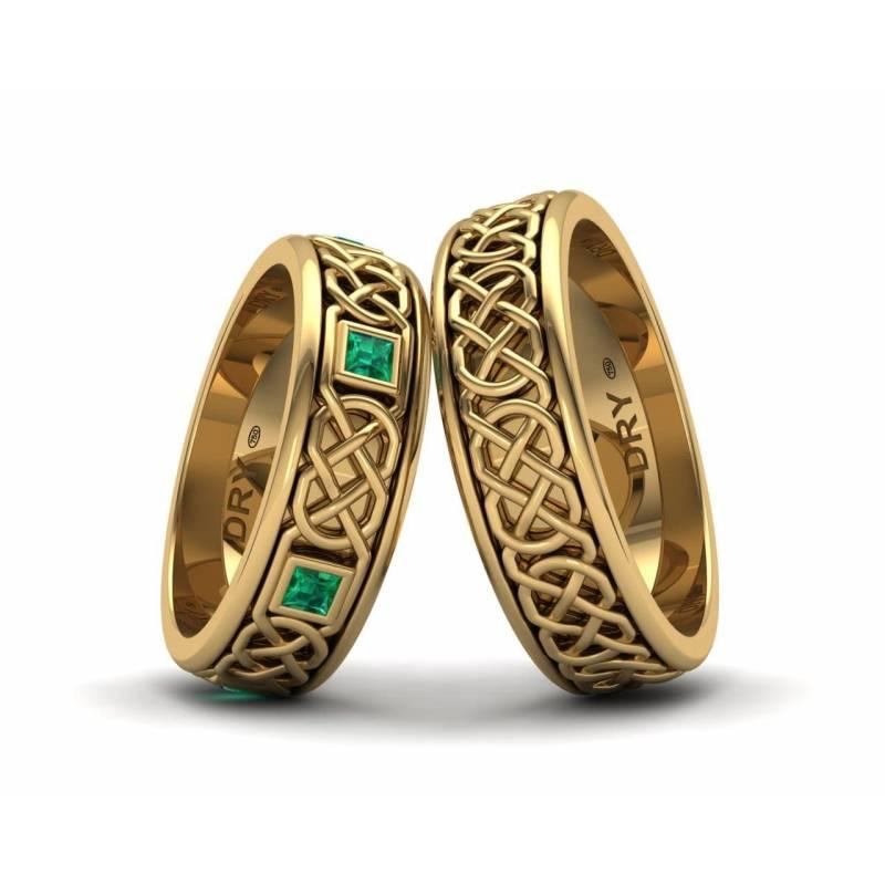 Alianzas Celtas con Esmeraldas en Oro Amarillo
