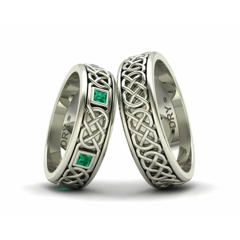 Alianzas Celtas con Esmeraldas en Oro Blanco