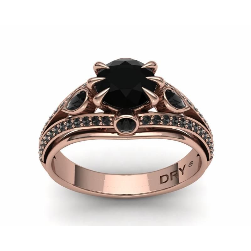 Anillo Diamantes Negros en Oro Rosa