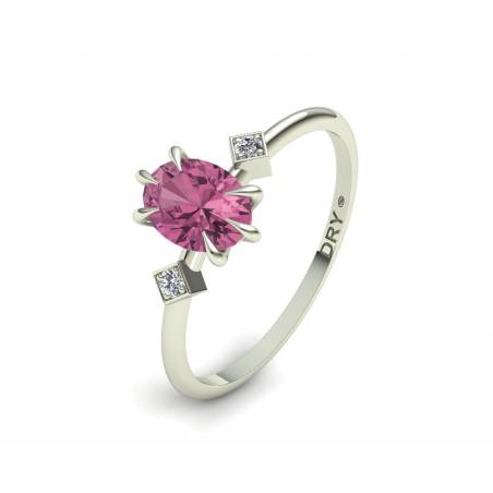 Anillo con Turmalina Rosa y Diamantes en Oro Blanco