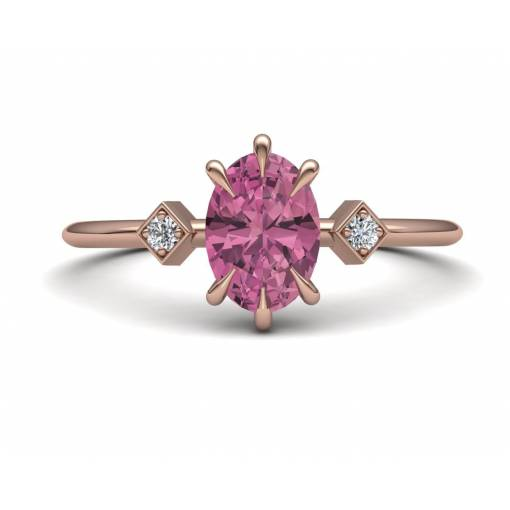 Anillo con Turmalina Rosa y Diamantes en Oro Rosa