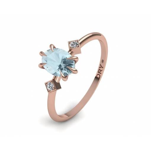 Anillo con Aguamarina y Diamantes en Oro Rosa