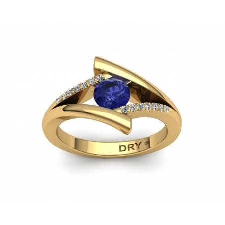 Anillo Tanzanita y Diamantes en Oro Amarillo