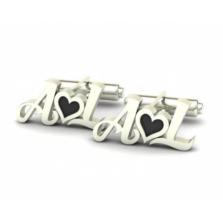 Gemelos con iniciales y corazón