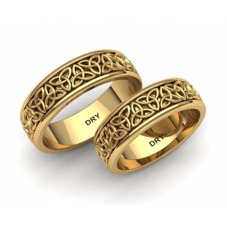Alianzas celtas triqueta oro amarillo