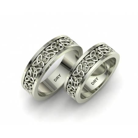 Alianzas de boda celtas triqueta oro blanco ancho de 6mm