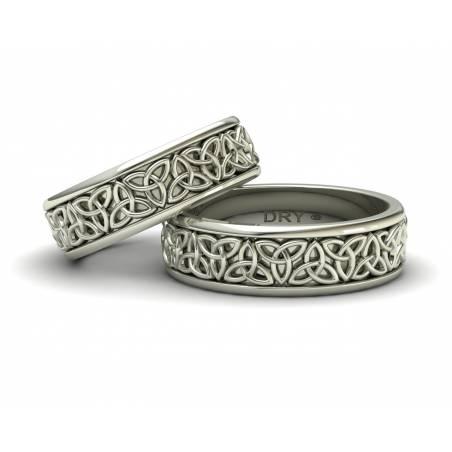 Anillos de boda celtas triqueta oro blanco ancho de 6mm