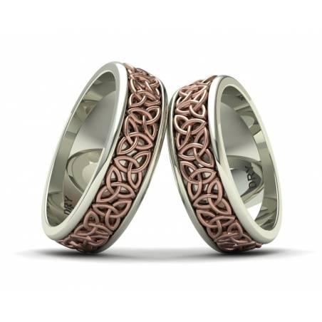 Triquetra celtic wedding rings