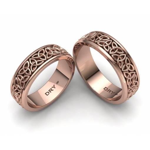 Alianzas de boda celtas triqueta oro rosa ancho de 6mm