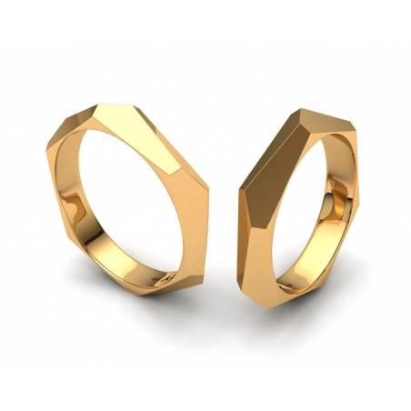Alianzas de boda facetadas Oro Amarillo 4mm