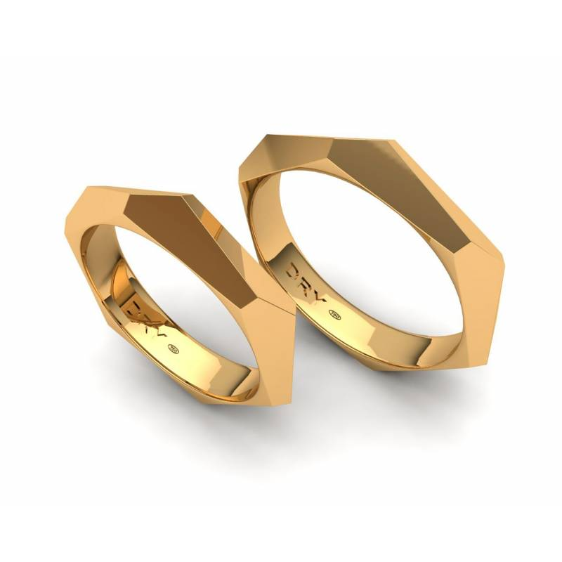 Alianzas Facetadas Oro Amarillo 4mm