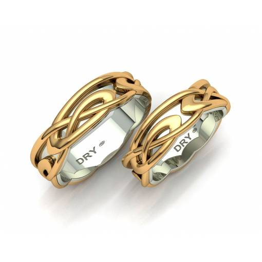 Two-tone gold celtic wedding rings