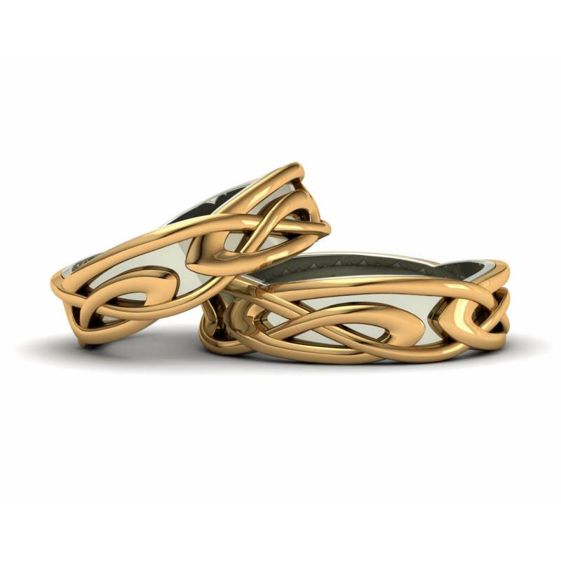 Two-tone gold celtic wedding bands