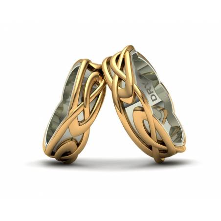 White and yellow gold celtic wedding bands 6mm