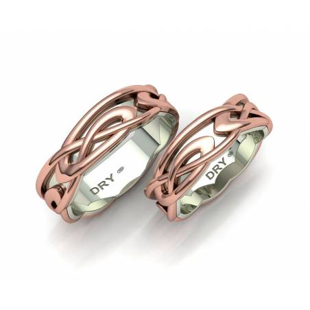 White and rose gold celtic wedding bands 6mm width