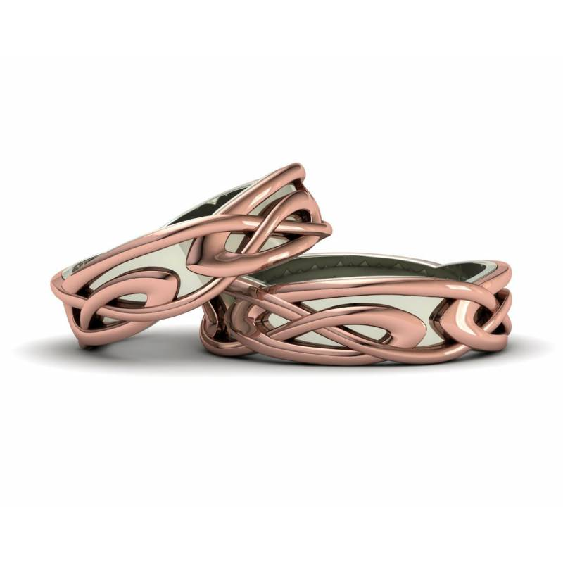 Two-tone gold celtic wedding bands 6mm width