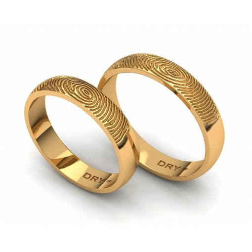 Alianzas de boda huella dactilar oro amarillo  anchura de 4mm